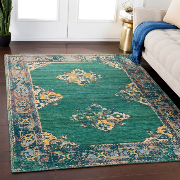 Rand Overdyed Vintage Dark Green/Bright Yellow Area Rug Rug Size: Rectangle 2' x 2'9