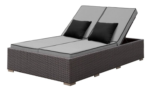 Lulsgate Double Reclining Chaise Lounge with Cushion Cushion Color: Gray/Black
