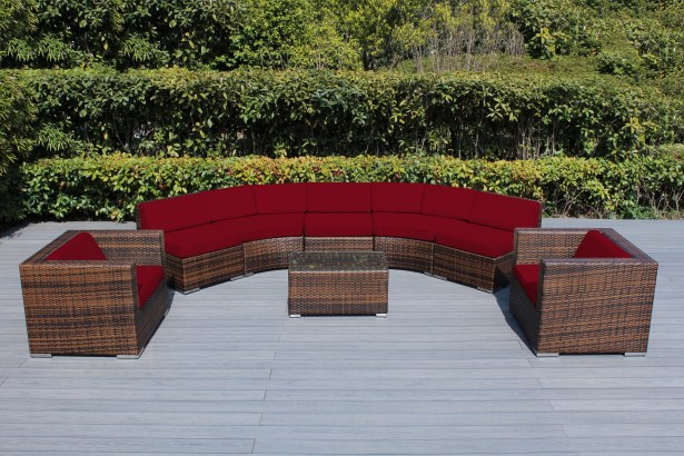 Baril Curved 8 Piece Sectional Set with Cushions Cushion Color: Red