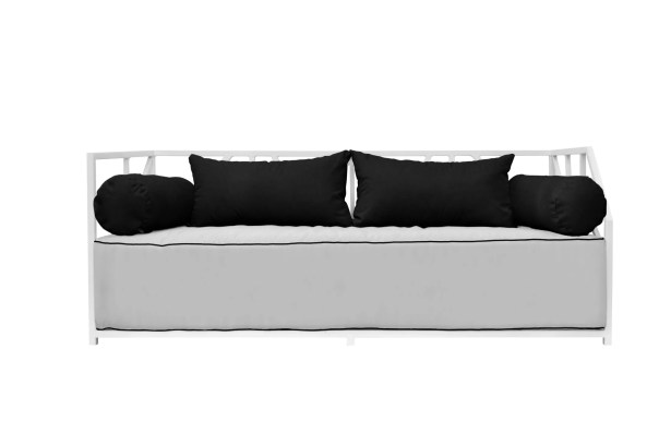 Snydertown Patio Daybed with Cushions Frame Color: White, Cushion Color: White/Black