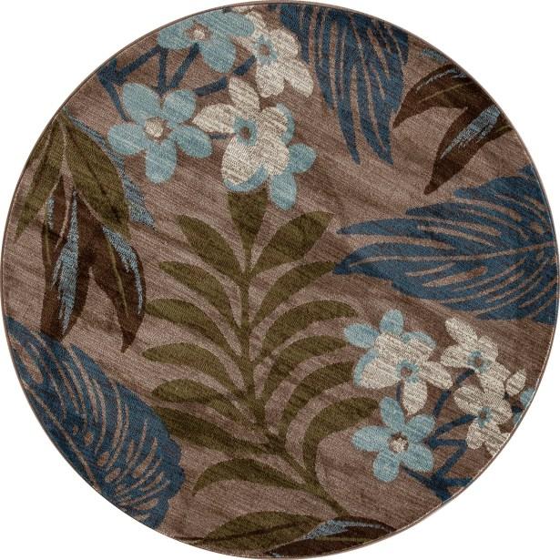 Lynbrook Beige/Blue Area Rug Size: Round 5'3