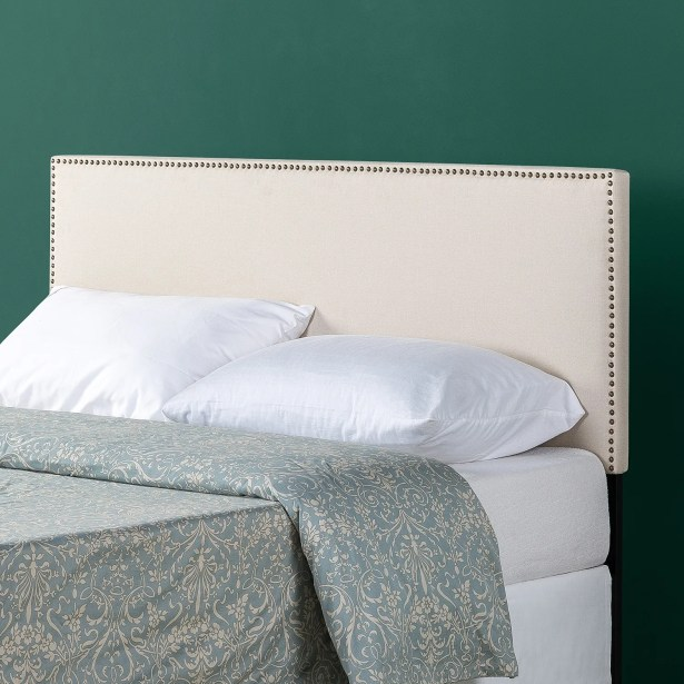 Agathe Nailhead Trim Upholstered Panel Headboard Size: Full, Color: Taupe