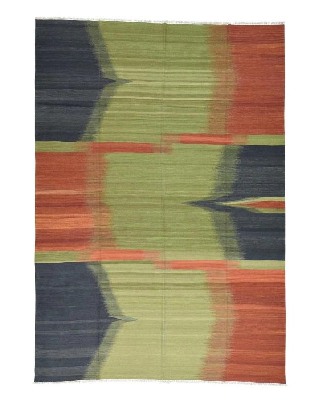 Kilim Flat Weave Oriental Hand-Knotted Green/Orange Area Rug