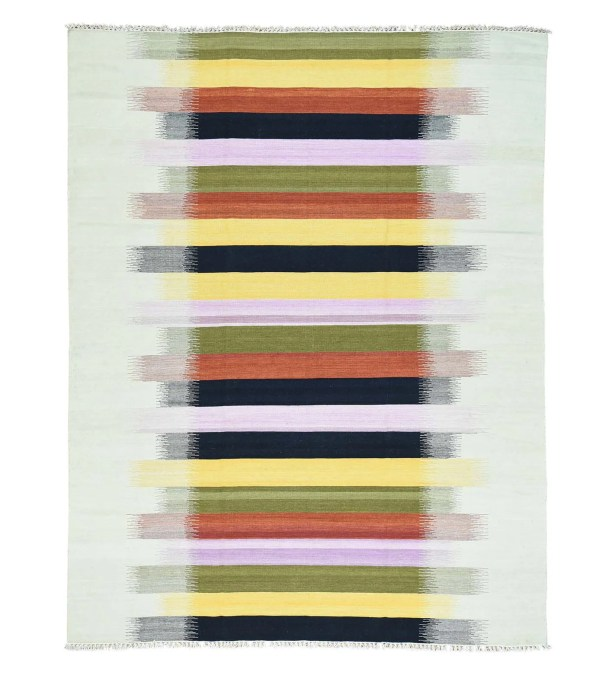 One-of-a-Kind Goyette Flat Weave Kilim Hand-Knotted Black/Yellow/Ivory Area Rug