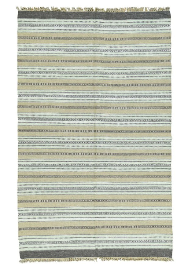 Striped Kilim Flat Weave Hand-Knotted Ivory/Taupe Area Rug