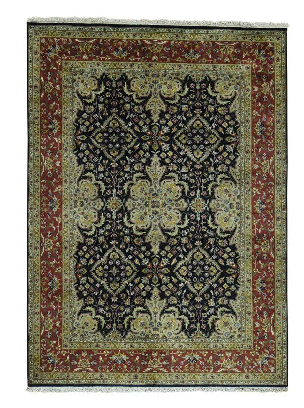 One-of-a-Kind Ruelas New Zealand 300 Kpsi Revival Hand-Knotted Black Area Rug