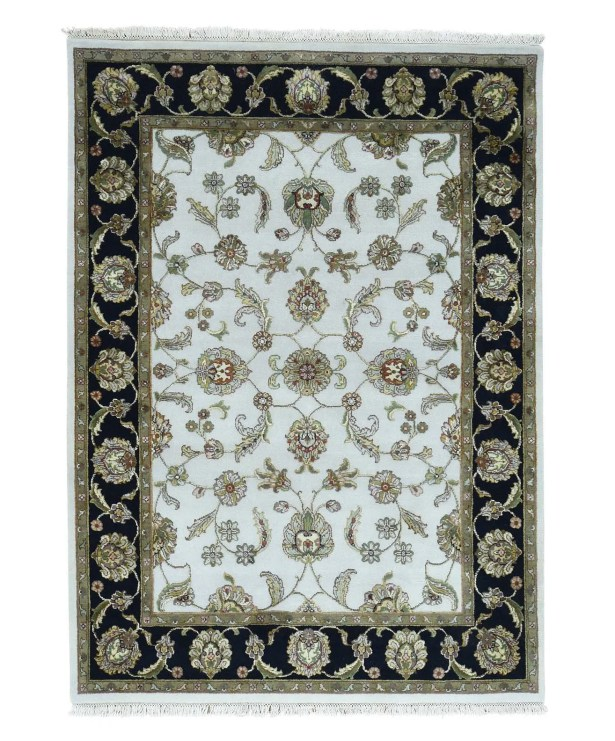 One-of-a-Kind Rajasthan Hand-Knotted Ivory Area Rug