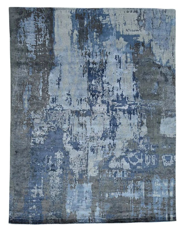 Abstract Hi and Low Hand-Knotted Denim Blue/Gray Area Rug