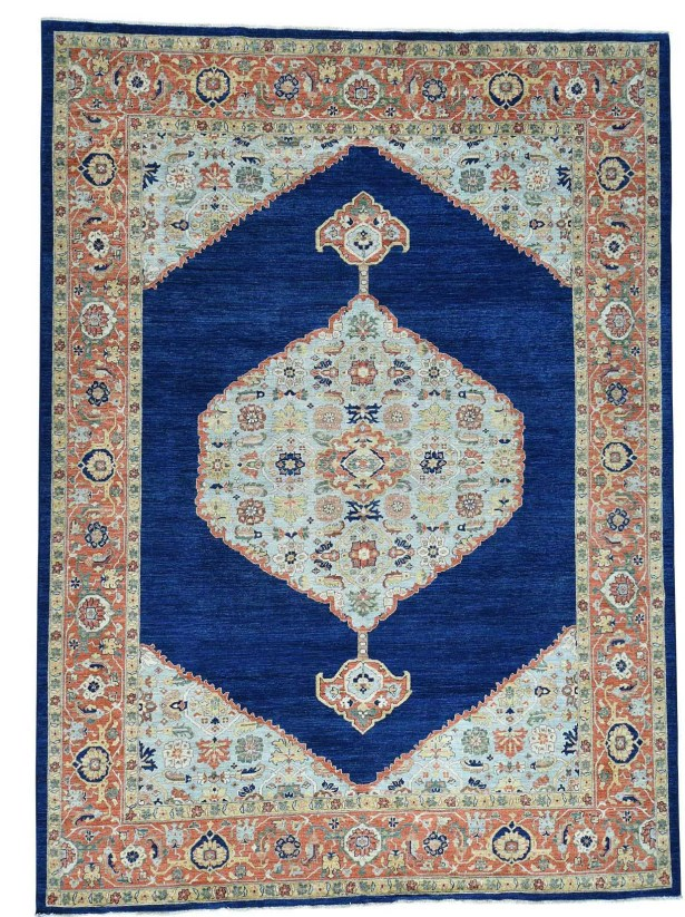 One-of-a-Kind Bidjar Hand-Knotted Blue/Ivory Area Rug