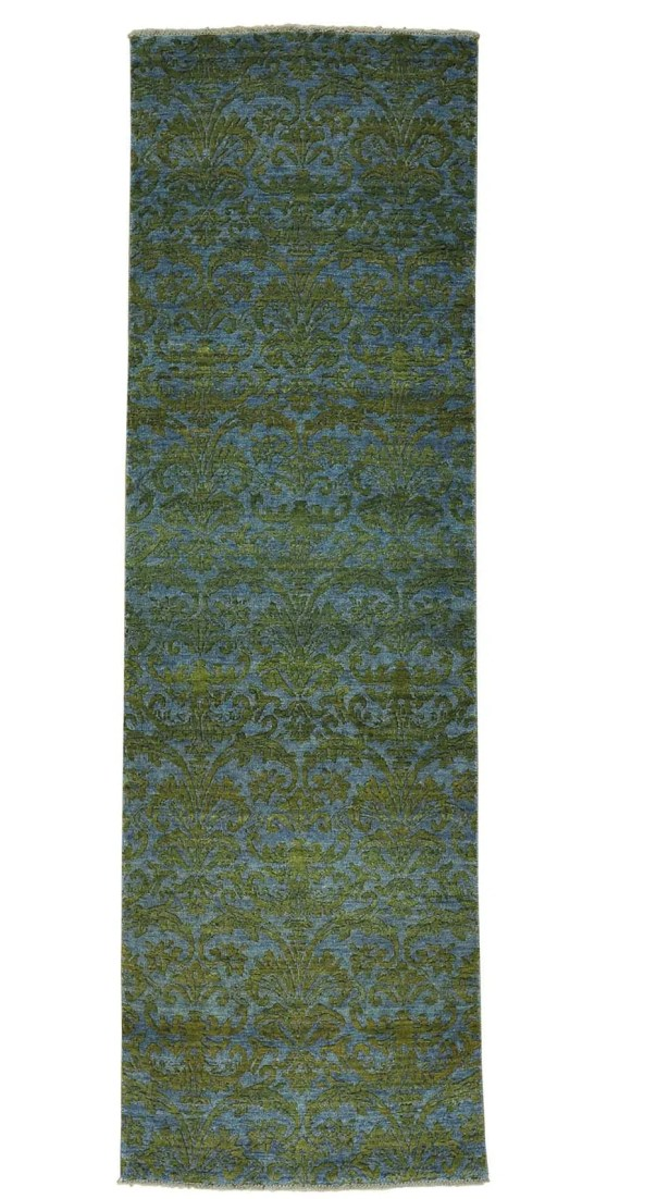 Tone on Tone Damask Hand-Knotted Gray Area Rug