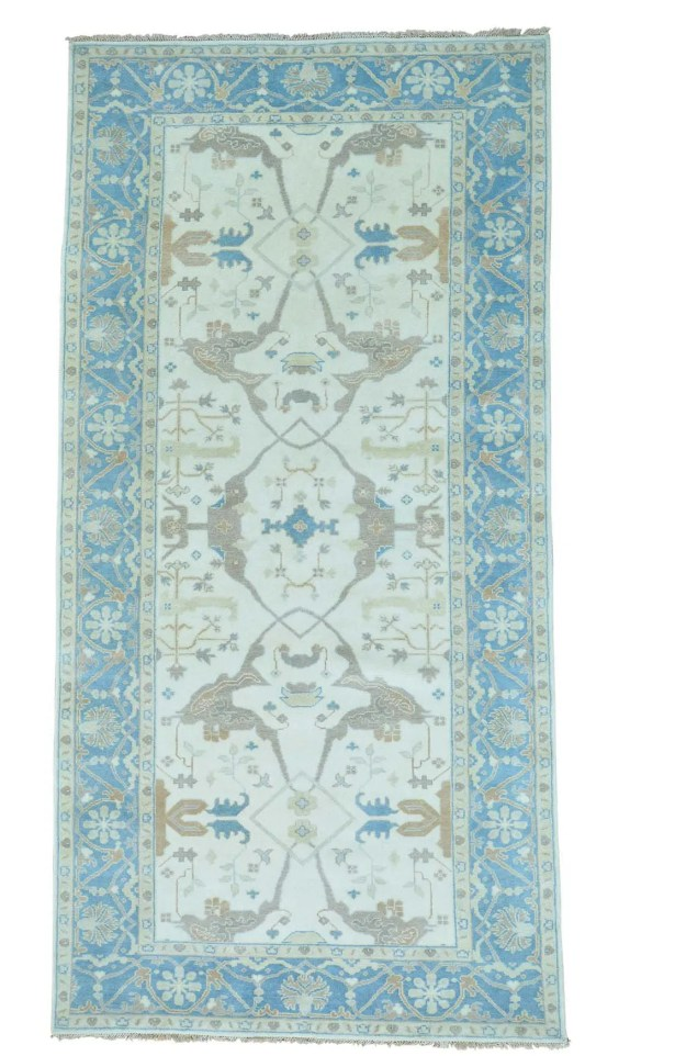 One-of-a-Kind Kennard Vintage Overdyed Hand-Knotted Ivory/Sky Blue Area Rug