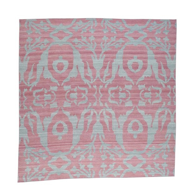 Reversible Kilim Flat Weave Hand-Knotted Pink/Gray Area Rug