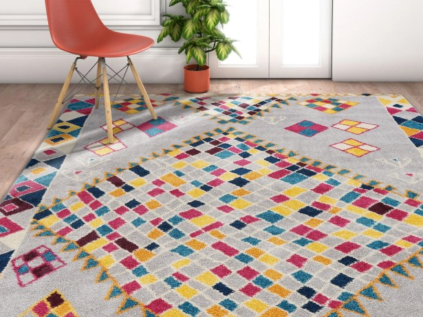 Angie Geo Shapes Gray Area Rug Rug Size: Rectangle 7'10'' x 10'6