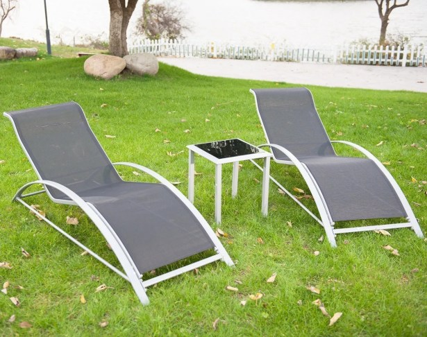 Breisacher Poolside PVC-coated polyester Sun Lounger Set with Table