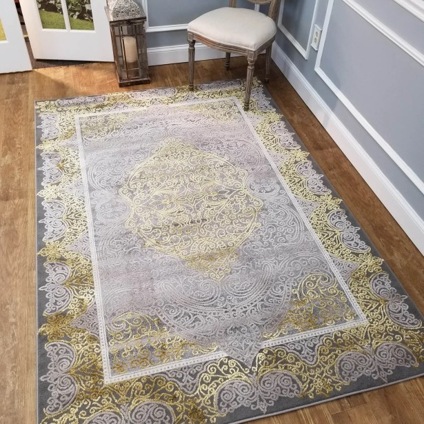 Wintergreen Silky Palace Gold/Silver Area Rug Rug Size: Rectangle 8'2