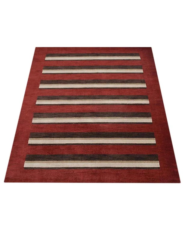 Ry Hand-Knotted Wool Red/Brown Area Rug Rug Size: Rectangle 8' x 10'