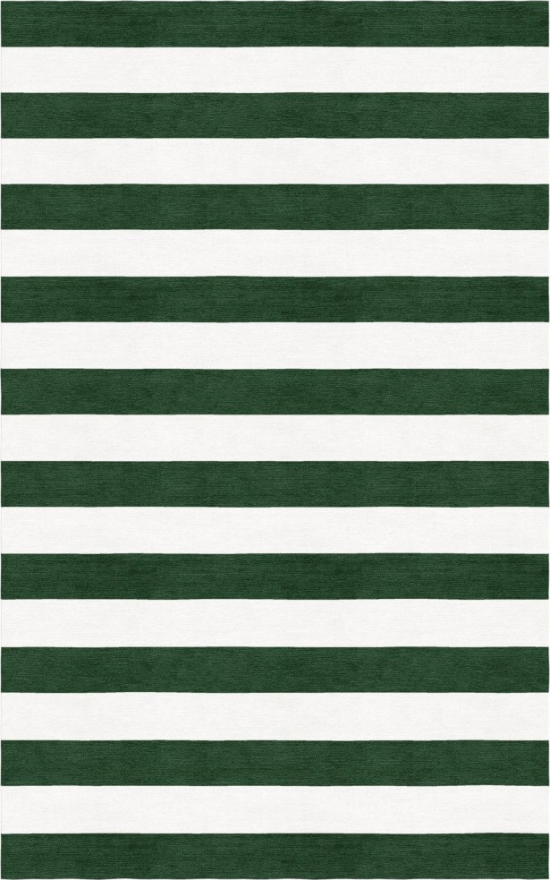 Brazzell Stripe Hand-Tufted Wool Dark Green/White Area Rug Rug Size: Rectangle 8' x 10'