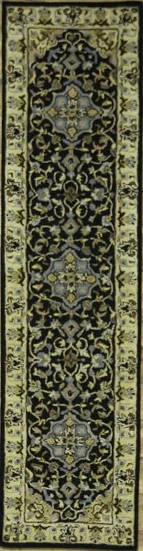 Bovill Agra Oriental Hand-Tufted Wool Black/Green Area Rug