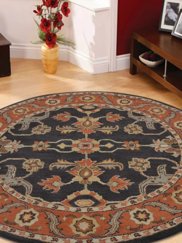 Bovill Agra Oriental Hand-Tufted Wool Red/Black Area Rug