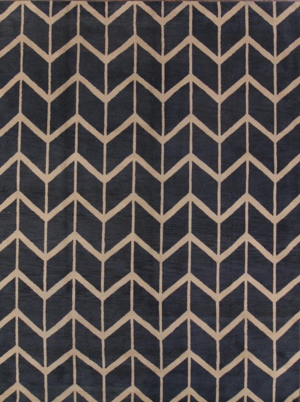 Ayler Oushak Oriental Hand-Knotted Wool Navy Blue/Cream Area Rug