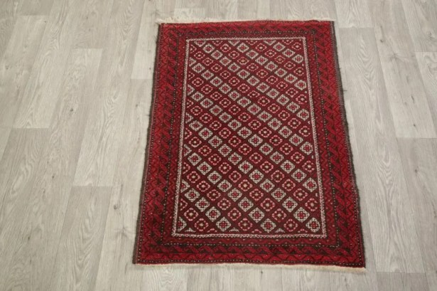 Woodleigh Balouch Afghanistan Geometric Hand-Knotted Wool Red/Burgundy Area Rug