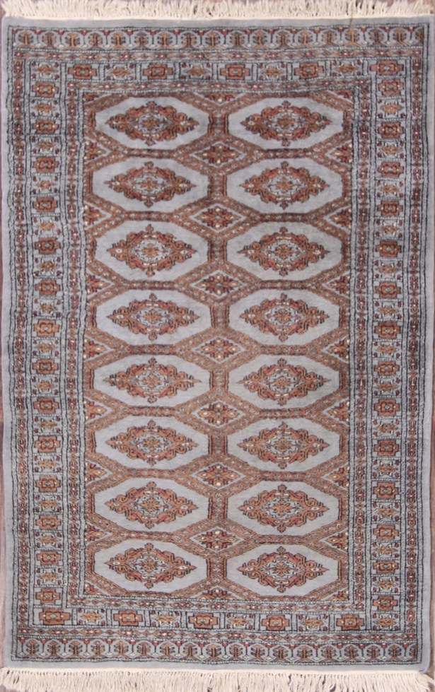 Mireya Bokhara Pakistan Traditional Oriental Hand-Knotted Wool Beige/Brown Area Rug
