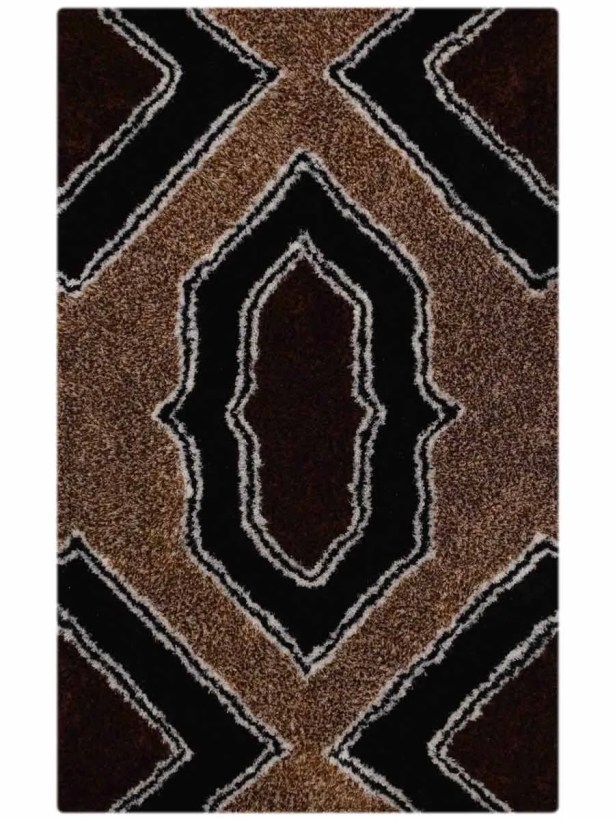Euphemia Shaggy Oriental Hand-Tufted Black/Brown Area Rug