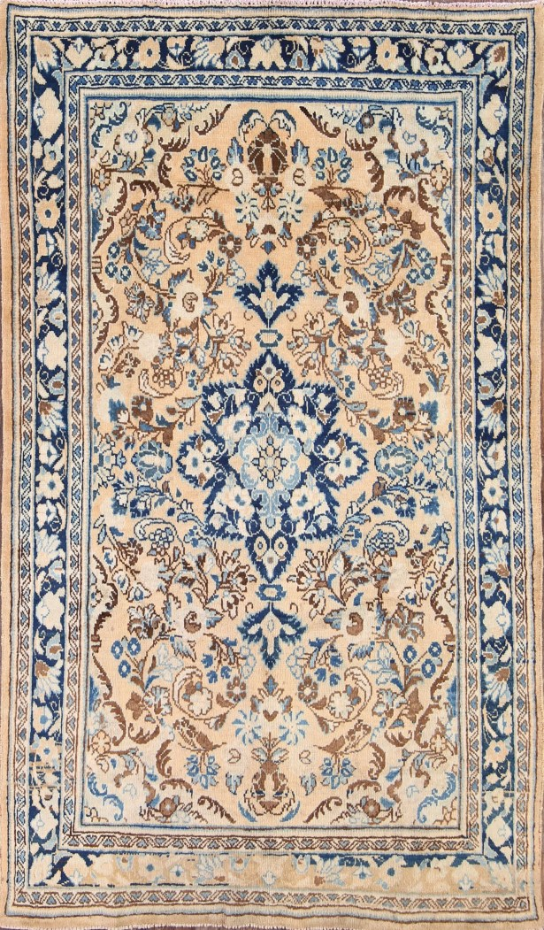 One-of-a-Kind Vintage Traditional Sarouk Persian Hand-Knotted 4'1