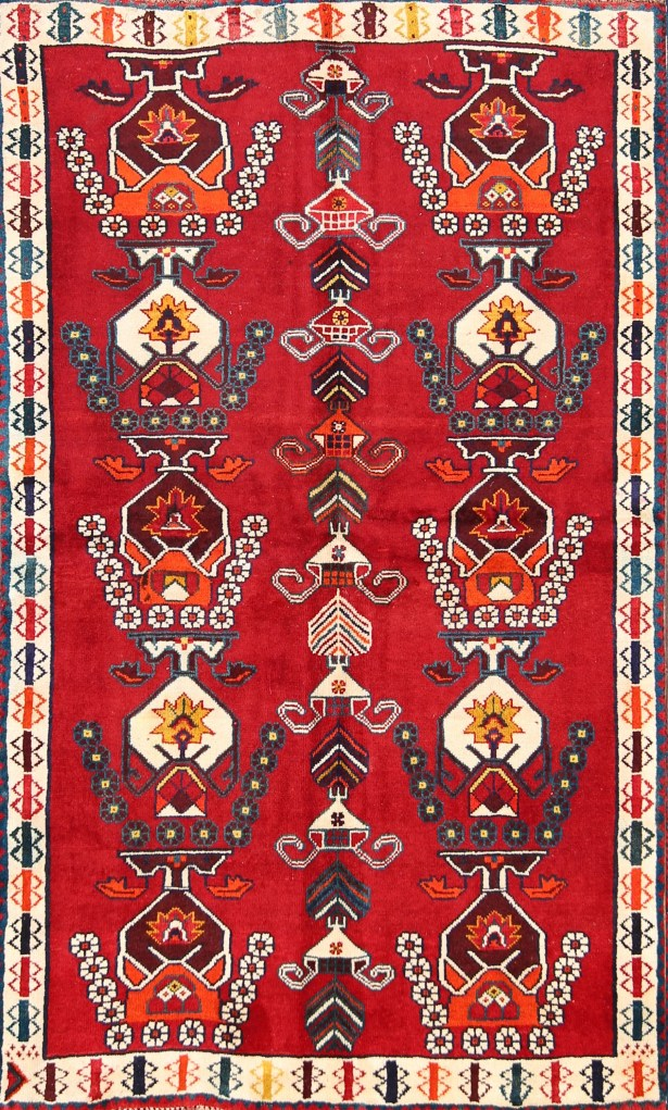 One-of-a-Kind Gabbeh Shiraz Classical Persian Hand-Knotted 3'9