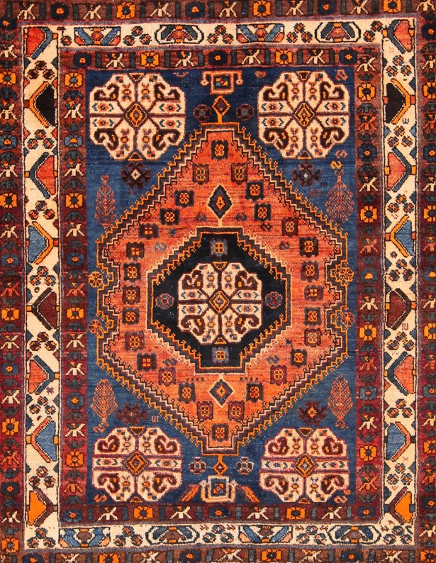 One-of-a-Kind Abadeh Shiraz Vintage Persian Hand-Knotted 3'8
