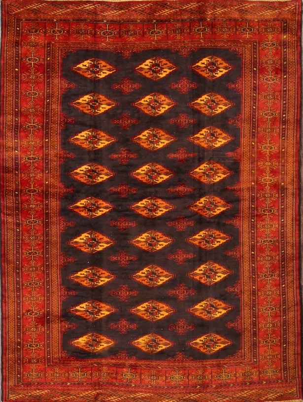 One-of-a-Kind Turkoman Bokhara Persian Hand-Knotted 5' x 6'10