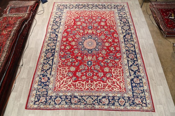 One-of-a-Kind Medallion Isfahan Persian Vintage Hand-Knotted 9'10