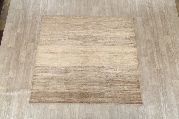One-of-a-Kind Zolanavri Gabbeh Traditional Persian Modern Hand-Knotted 6'5'' x 7' Wool Beige Area Rug
