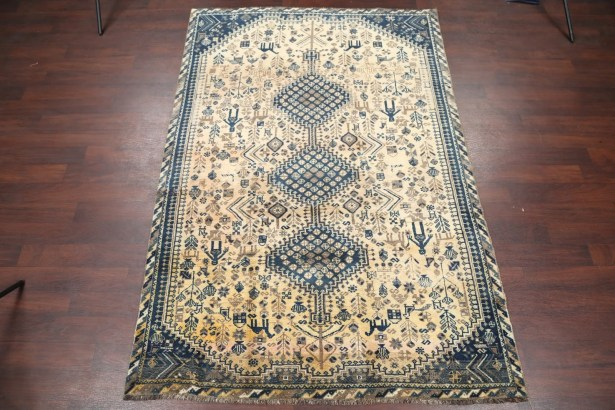 One-of-a-Kind Merryman Traditional Characters/Animals Tribal Qashqai Persian Hand-Knotted 5'10