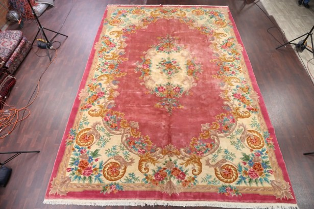One-of-a-Kind Linnea Peking Chinese Oriental Hand-Knotted Wool Pink Area Rug