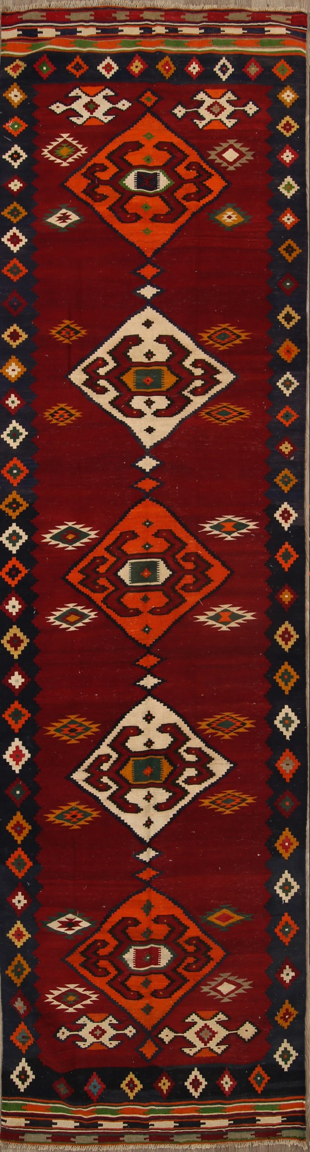 One-of-a-Kind Kilim Shiraz Vintage Persian Traditional Palace Hand-Knotted 4' x 15'2