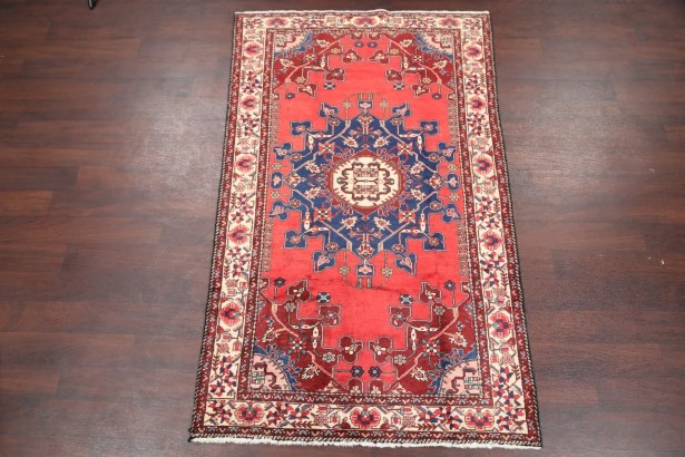 One-of-a-Kind Pfeifer Traditional Geometric Malayer Hamedan Persian Hand-Knotted 4'1