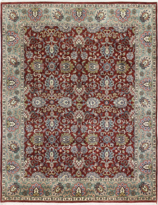 One-of-a-Kind Duffner Kashan Hand-Woven Wool Rust/Green Area Rug