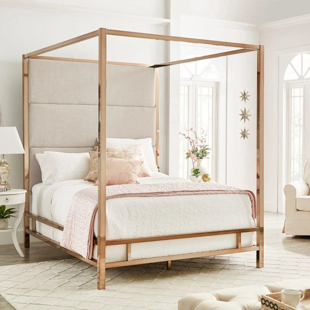 Weymouth Upholstered�Canopy Bed Size: Queen, Color: White/Champagne Gold
