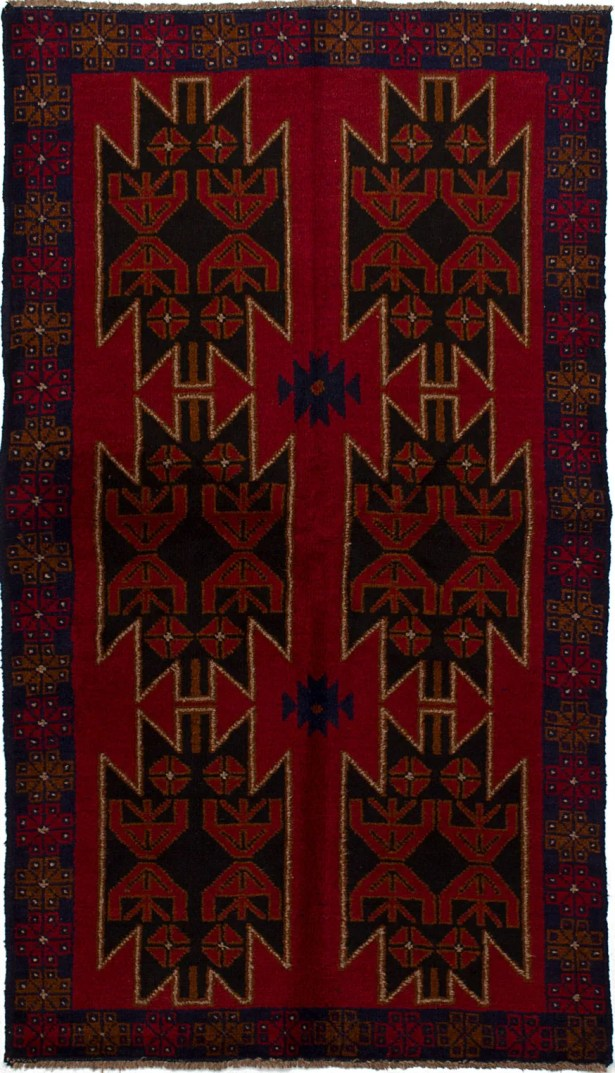 One-of-a-Kind Dix Hand-Knotted Wool Red/Navy Area Rug