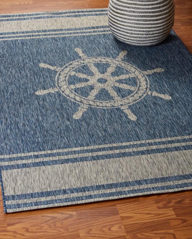 Weese Nautical Helm Navy/Gray Indoor/Outdoor Area Rug Rug Size: Rectangle 7'9