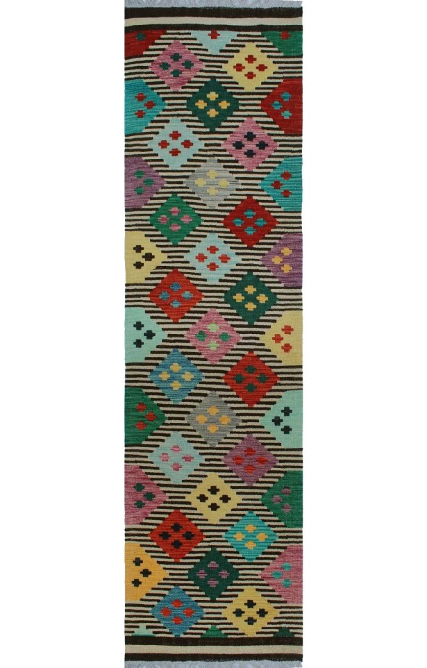 One-of-a-Kind Renita Kilim Hand-woven Wool Ivory/Black Area Rug