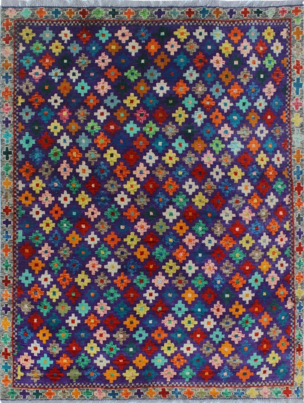 One-of-a-Kind Millender Obike Hand-Knotted Wool Blue/Red Are Rug