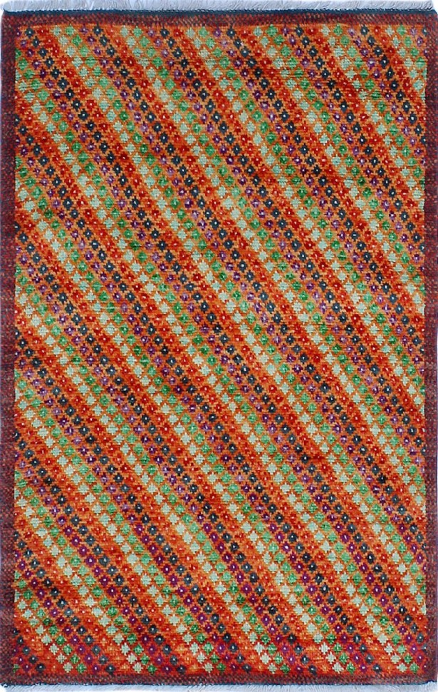 One-of-a-Kind Millender Zawadi Hand-Knotted Wool Orange/Red Area Rug