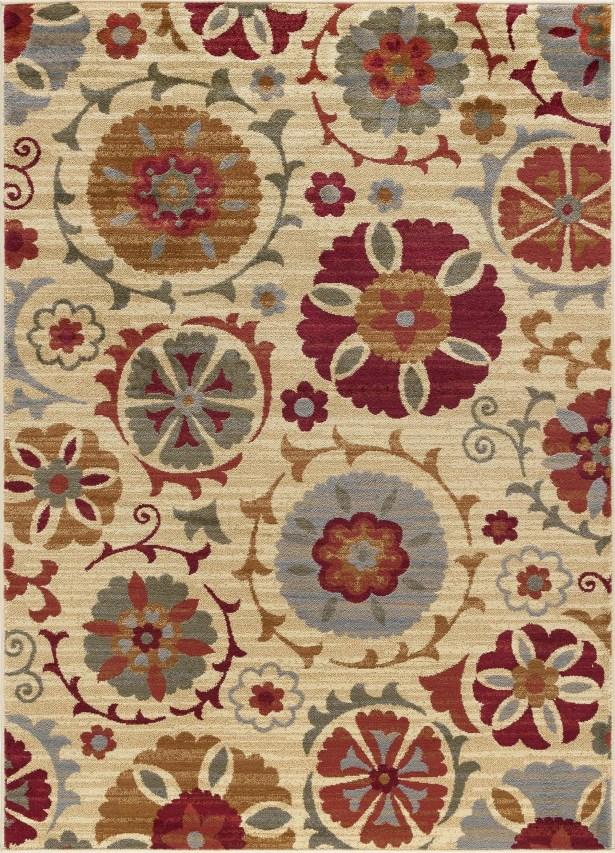 Karas Transitional Floral Cream Area Rug Rug Size: 5' x 7'