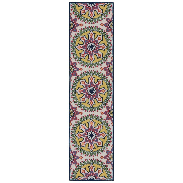Petterson Moroccan Medallion Hand-Tufted Pink/Yellow Indoor/Outdoor Area Rug Rug Size: Rectangle5' x 7'6