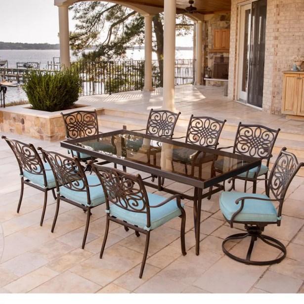 Barrowman 9 Piece Dining Set with Cushions Cushion Color: Blue