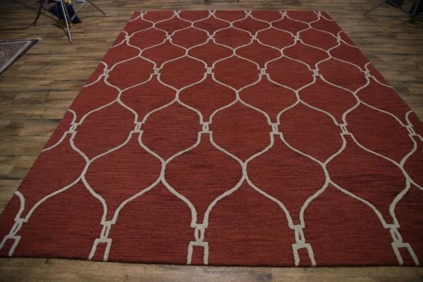 Senna Trellis Oriental Hand-Tufted Wool Red Area Rug Rug Size: Rectangle 9' x 12'