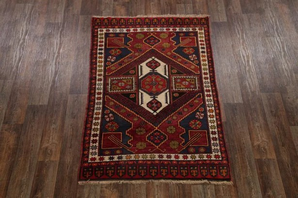 One-of-a-Kind Poe Caucasian Russian Oriental Hand-Knotted Wool Red Area Rug