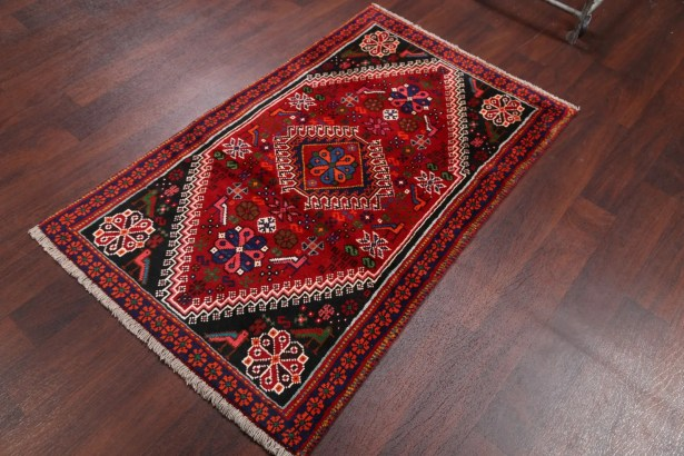 One-of-a-Kind Genuine Shiraz Persian Traditional Hand-Knotted 2'11